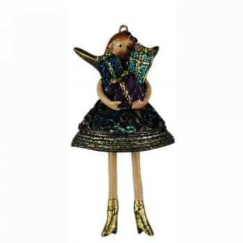Fat Fairies Indigo Angel Carrying Presents Hanging Christmas Tree Decoration