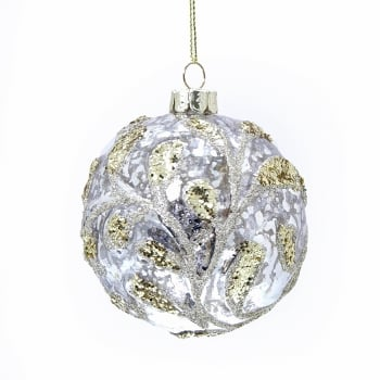 Gisela Graham Antiqued Gold Glass Bauble with Gold Glitter Christmas Tree Decoration
