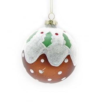 Gisela Graham Handpainted Glass Christmas Pudding Glass Bauble Christmas Tree Decoration