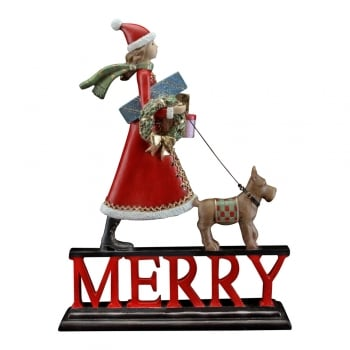 Gisela Graham Santa Girl Walking a Dog Red MERRY Ornament