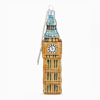 Gisela Graham Painted Glass Big Ben Christmas Tree Decoration