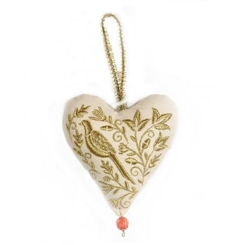 Gisela Graham Stately Home Embroidered Fabric Gold Heart Christmas Tree Decoration