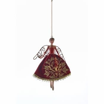 Gisela Graham Red Fabric Stately Home Fairy Christmas Tree Decoration