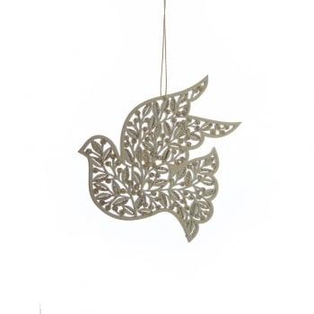 Gisela Graham Gold Wooden Dove Bird Christmas Tree Decoration