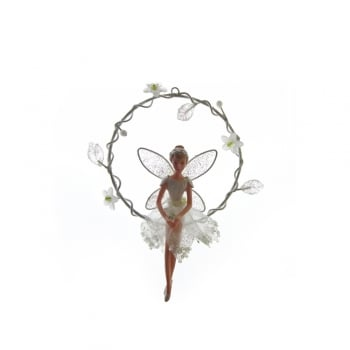 Gisela Graham Snowdrop Fairy In A Ring Christmas Tree Decoration