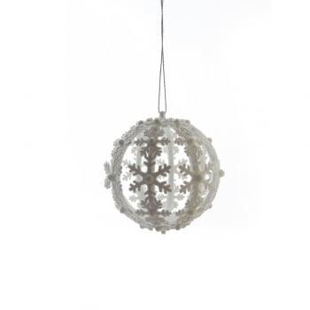 Gisela Graham White Gillter Acrylic Snowflake Bauble Christmas Tree Decoration