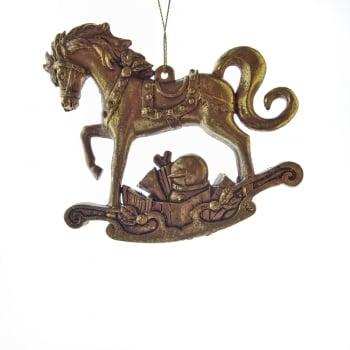 Gisela Graham Old Gold Rocking Horse Christmas Tree Decoration