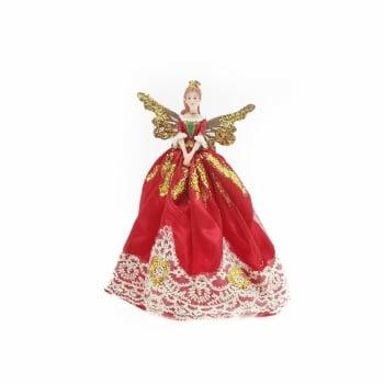 Gisela Graham Red & Gold Nutcracker Fairy Small Christmas Tree Topper