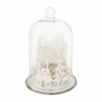 Gisela Graham Lare White Glitter Fretwork LED Winter Scene Glass Dome Christmas Ornament