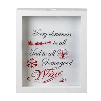 Heaven Sends White Framed Christmas Wine Cork Holder