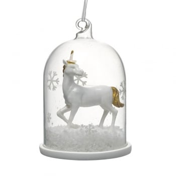 Heaven Sends White and Gold Unicorn in a Clear Glass Dome Christmas Tree Decoration