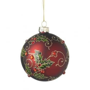 Heaven Sends Matte Red Holly & Swirls Bauble Christmas Tree Decoration