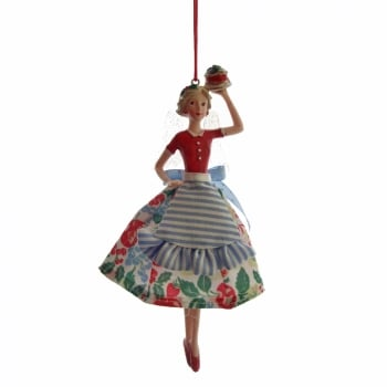Gisela Graham Resin & Fabric Large Bake-Off Fairy (Blue Apron) Carrying A Christmas Cake Tree Decoration