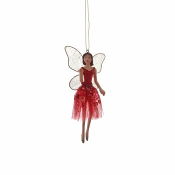 Gisela Graham Fairy (Blowing Kisses) in a Red & Gold Fabric Skirt Christmas Tree Decoration