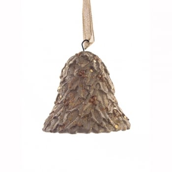 Gisela Graham Resin Gold Sparkle Holly Bell Christmas Tree Decoration