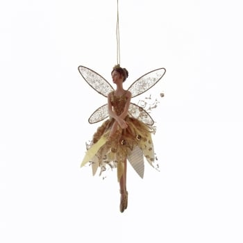 Gisela Graham Fairy (Arms Down) in a Gold Fabric Skirt Christmas Tree Decoration