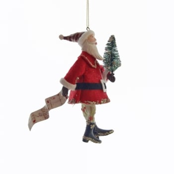 Gisela Graham Santa Carrying A Christmas Tree And A Letter Christmas Tree Decoration