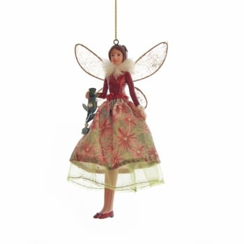 Gisela Graham Toy Factory Fairy in a Red Coat Christmas Tree Decoration
