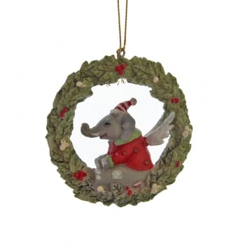 Gisela Graham Toy Factory Resin Wreath with an Elephant Christmas Tree Decoration