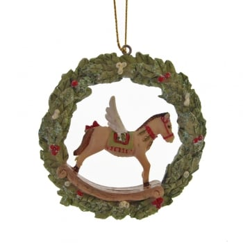 Gisela Graham Toy Factory Resin Wreath with a Rocking Horse Christmas Tree Decoration