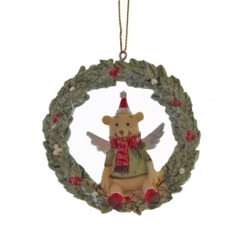 Gisela Graham Toy Factory Resin Wreath with a Teddy Bear Christmas Tree Decoration