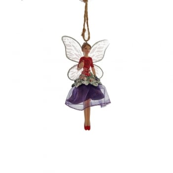 Gisela Graham Forest Fairy in a Purple Skirted Dress Christmas Tree Decoration