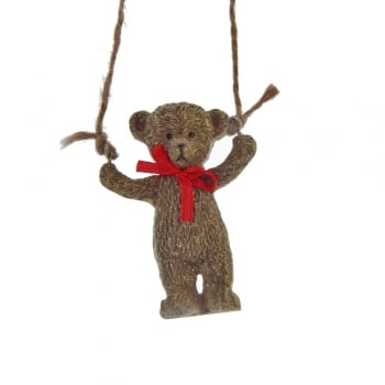 Gisela Graham Resin Teddy with a Red Bow Swinging Christmas Tree Decoration