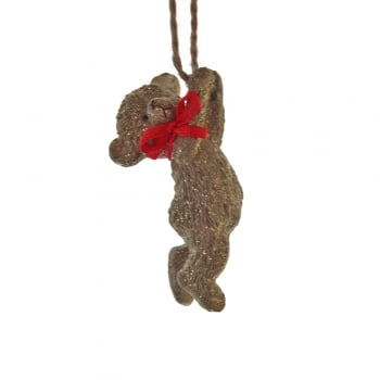 Gisela Graham Resin Teddy with a Red Bow Reaching Up Christmas Tree Decoration