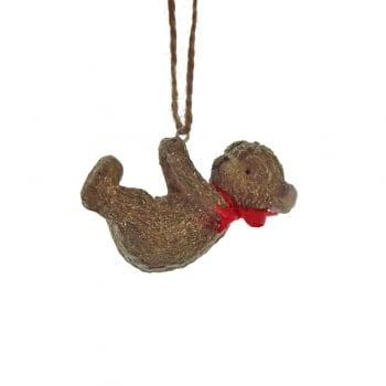 Gisela Graham Resin Teddy with a Red Bow Hanging Christmas Tree Decoration