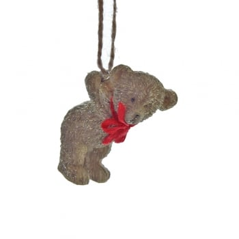 Gisela Graham Resin Teddy with a Red Bow Facing Forwards Christmas Tree Decoration