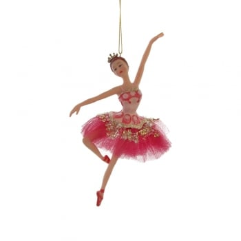 Gisela Graham Fuchsia Pink Princess Ballerina Christmas Tree Decoration