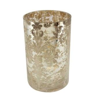Gisela Graham 20cm Silver Damask Print Mercury Style Glass Style Tealight Lantern