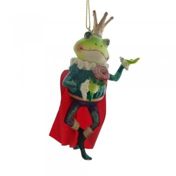 Gisela Graham Frog Prince Painted Resin Christmas Tree Decoration