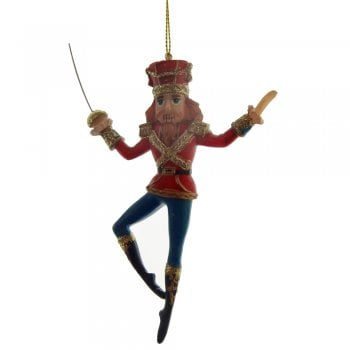 Gisela Graham Resin Nutcracker Soldier with a Sword Christmas Tree Decoration
