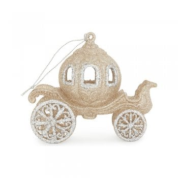 Gisela Graham Gold Glitter Resin Cinderella Coach Christmas Tree Decoration