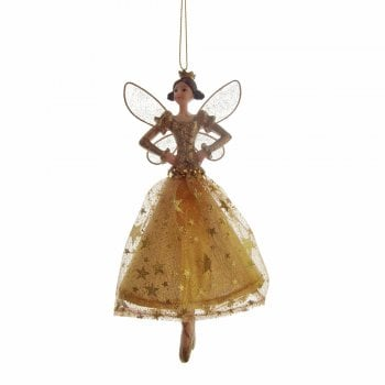 Gisela Graham Fabric & Resin Gold Dancing Angel with Crown (hands on hip) Christmas Tree Decoration
