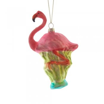 Gisela Graham Glass Pink Flamingo Christmas Tree Decoration