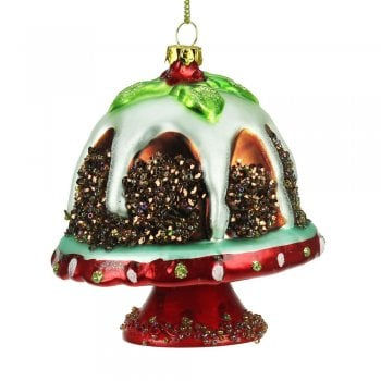 Gisela Graham Christmas Pudding on a Stand Christmas Tree Decoration