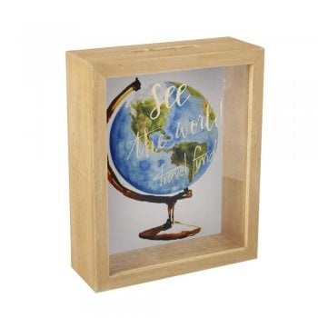 Heaven Sends See The World Travel Fund Wooden & Perspex Money Box