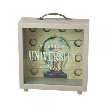 Heaven Sends Future University Fund Wooden & Perspex Money Box