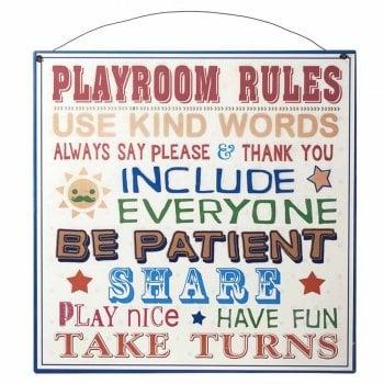 Heaven Sends Playroom Rules Metal Sign