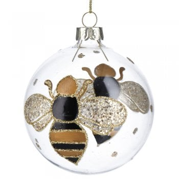 Gisela Graham Clear Glass with Painted Bumble Bee Christmas Tree Decoration