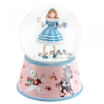 Gisela Graham Alice In Wonderland Resin & Glass Musical Snow Globe