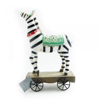 Gisela Graham Circus Zebra on Wheels Ornament
