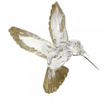 Gisela Graham Clear Acrylic with Gold Glitter Hummingbird Christmas Tree Decoration