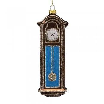 Gisela Graham Painted Glass Grandfather Clock Christmas Tree Decoration