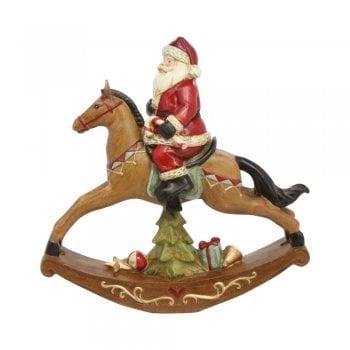 Gisela Graham Santa on a Rocking Horse Christmas Decoration