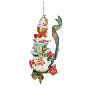 Gisela Graham Stacked Tea Time with Ribbon Resin Christmas Tree Decoration