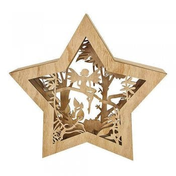 Gisela Graham Wooden Fairy inside a Star LED Light Box
