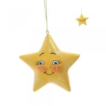 Gisela Graham Yellow Resin Star Christmas Tree Decoration